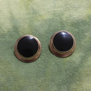 Earrings Black & Gold-Tone Pierced